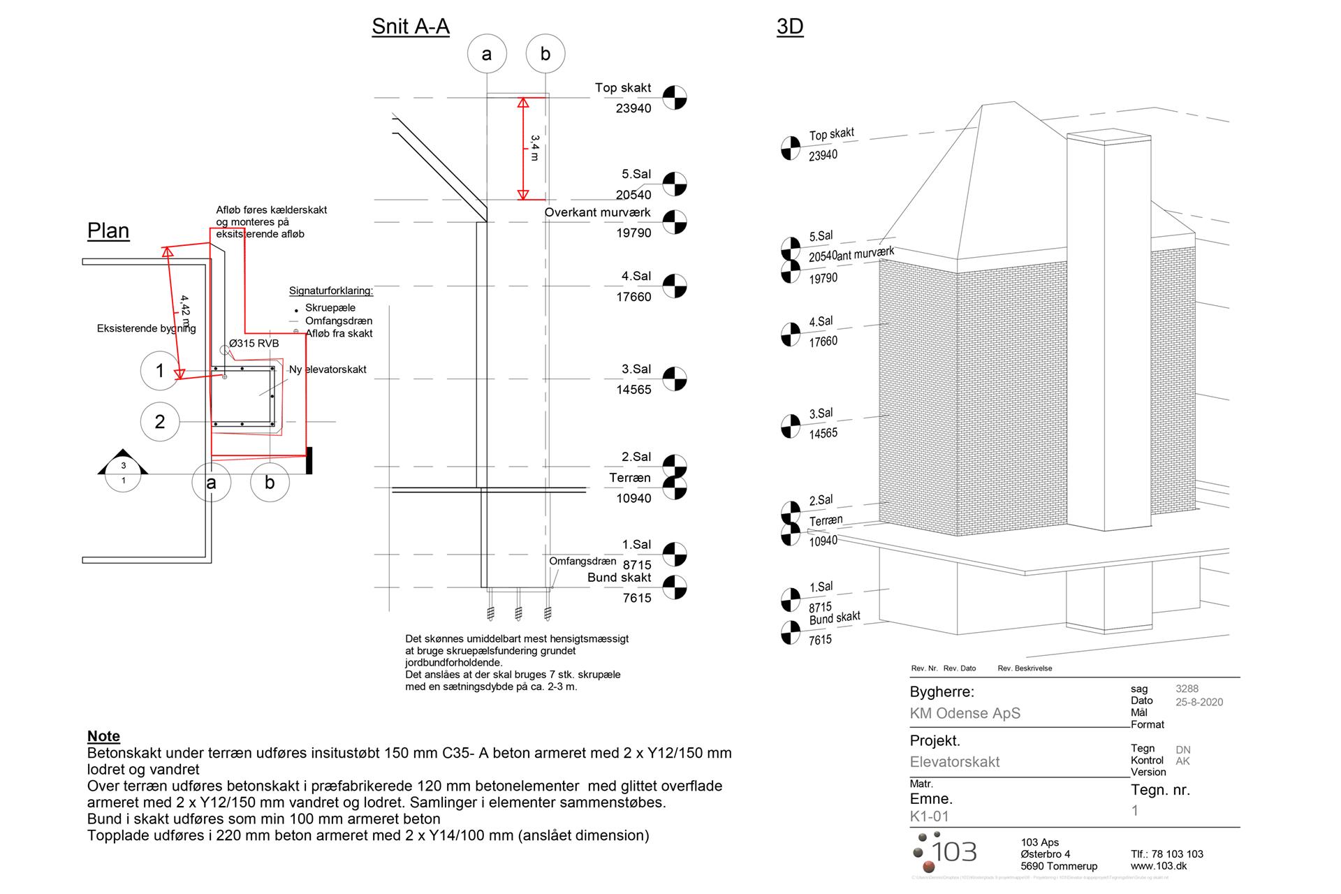 Svendborg Elevatortårn arbejdstegning